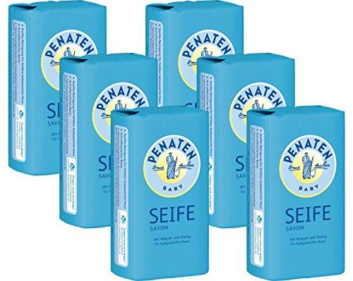 Penaten Seife 100g – Pflegende Seife für babyweiche Haut – Mit Babyöl und Honig (6 x 100g)