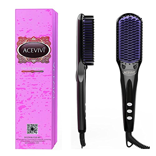 ACEVIVI 2 in 1 Ionic Hair Straightening Brush, ...