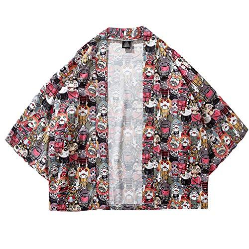 - AOJIAN Men T Shirts Short Sleeve T-Shirt Japanese Kimono Shirts Baggy Tunic Blouses Cardigan Tank Tops Red