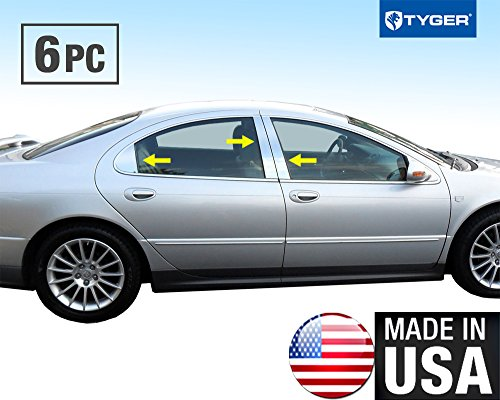 Made in USA! Works With 98-06 Dodge Intrepid 6 PC Stainless Steel Chrome Pillar Post Trim