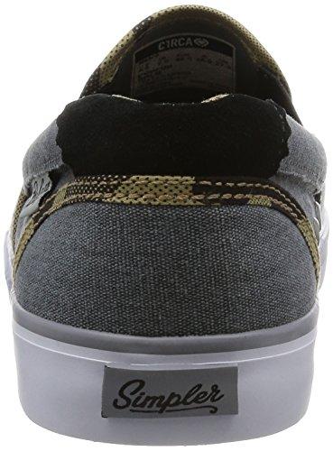 C1RCA Herren Corpus Slip-On leichte Einlegesohle Skate-Schuh Bohnam Holzkohle / Camo