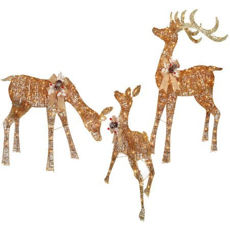 Set of 3 Lighted White Gold Deer Family Reindeer Display Outdoor Christmas Holiday Yard Decoration by Winter Wonder Lane