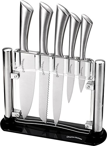 (Premium Class Stainless Steel Kitchen 6 Piece Knives Set (5 Knives plus an Acrylic Stand) - by Utopia Kitchen)