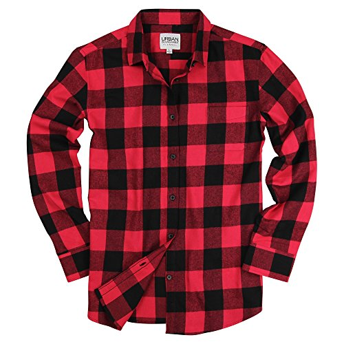 Urban Boundaries Womens Buffalo Plaid Long Sleeve Flannel Shirt w/Point Collar (Red/Black, Small)