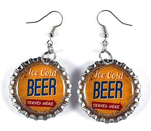 Vintage Beer Ad Bottle Cap Earrings