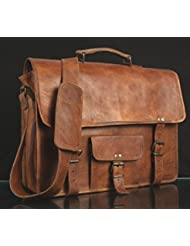 Vintage Handmade Leather Messenger Bag for Laptop Briefcase Satchel Bag (18 INCH)