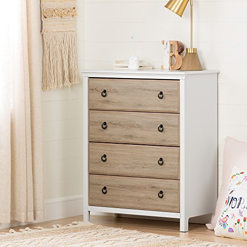 South Shore Catimini 4-Drawer Dresser, Pure White and Rustic Oak with Metal Handles