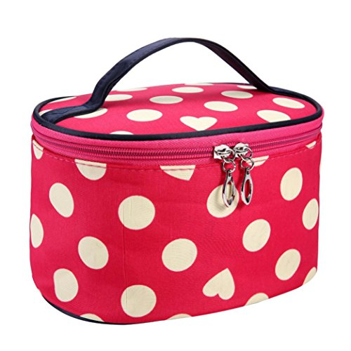Makeup Mirror Dots (Clearance! Polka Dots Series Large Makeup Bag Organizer Portable Toiletry Bag Cosmetic Travel Case With Mirror (Watermelon Red))