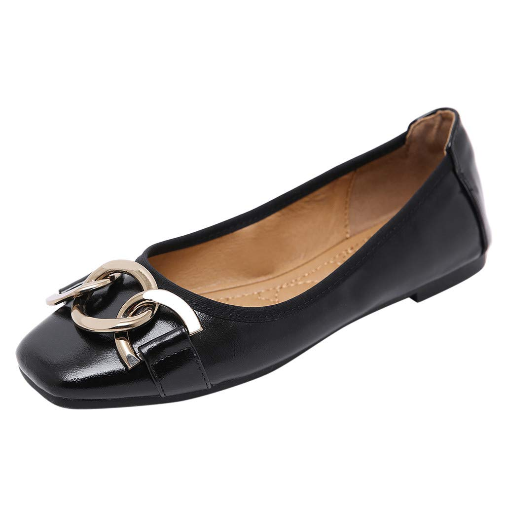 Womens Flat Single Shoes Fashion Metal Buckle Comfortable Soft Bottom Shallow Mouth Shoes Egg Roll Ladies Shoes