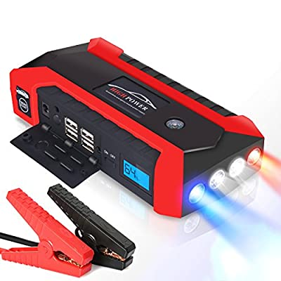 Car Jump Starter Portable Power Bank 600A Peak 20000Ah Auto Emergency Kit Battery Booster Jumper Phone Charger with Air Pump Compass USB LED Light Digital Display Smart Cables