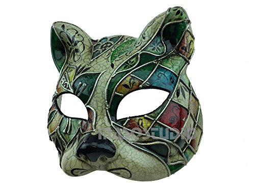 Brand NEW Venetian Cat Woman Mask White Black Kitty Halloween Costume Dress up Party Wear (Teal green accent) -