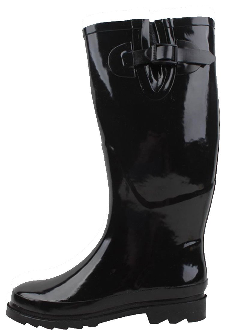 New Sunville Brand Women's Rubber Rain Boots Multiple Styles Available,7 B(M) US,Midnight black