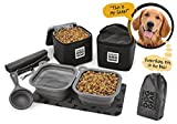 Dog Travel Food Set For Medium + Large Dogs (Black) - 7 Pieces Including Collapsible Bowls, Carriers, Scooper, Place Mat, Bag
