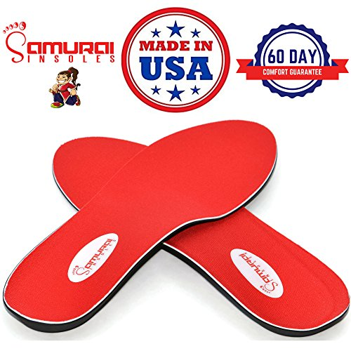 Samurai Insoles Instant Relief Orthotics for Flat Feet - Plantar Fasciitis Pain Relief Guaranteed, Arch Support Shoe Insert Insoles for Foot and Heel Pain M5-5.5/W7-7.5 -