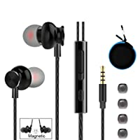 Earphones Headphones, Powerful Bass Driven Sound, Ergonomic Design Earbuds with Microphone and Volume Control for iPhone, iPad, iPod, Samsung, MP3 Players (Blue Carrying Case)