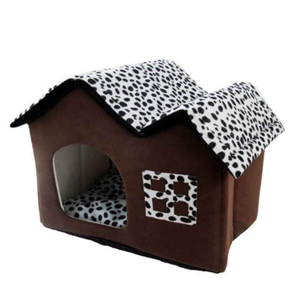 Pet Dog Kennel Puppy Small Indoor Cat House Bed with Soft Removeable Cushion for Little Dog 50 X 40 X 35 Brown
