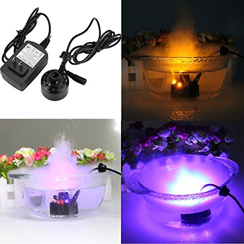 Highpot 12 LED Light Mist Maker Fogger Atomizer Air Humidifier Water Fountain Pond Fog Machine Lamp