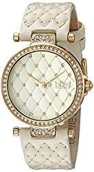 Diamond With Crystal & Leather Strap Watch