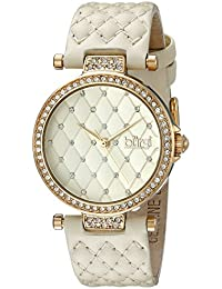 Women's BUR154 Gold-Tone Swarovski Crystal Watch With Quilted Band