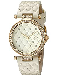 Burgi Women's BUR154 Gold-Tone Swarovski Crystal Watch with Quilted Band