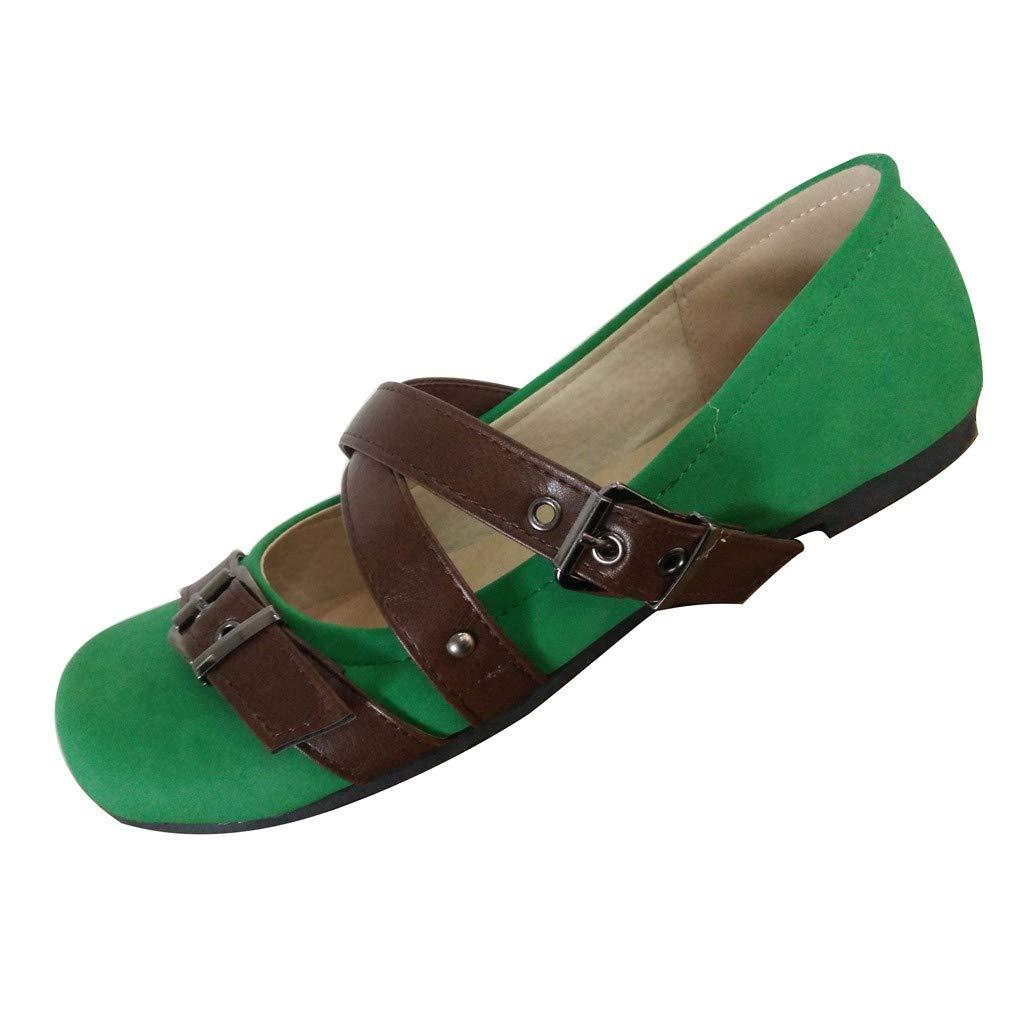 Shusuen Women's Casual Suede Mary Jane Slip-on Flat Dance Shoes Green by Shusuen_shoes