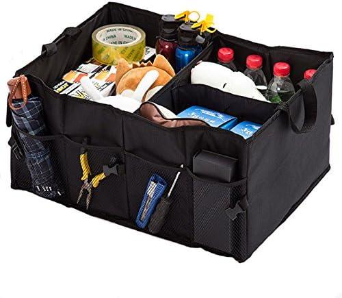 HCMAX 1 Pack Borsa Per Bagagliaio Pieghevole Auto Tronco Organizzatore Tessuto Oxford 3 vano Portaoggetti per Alimenti Auto Borsa Termica Antiscivolo Multiuso per SUV Autocarri per Furgoni