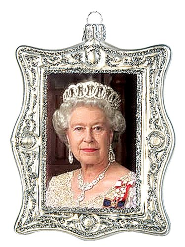 queen elizabeth ii diamond jubilee portrait polish glass christmas ornament - Queen Christmas Decorations
