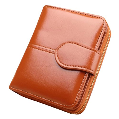 UPinYi Leather Wallet for Women Short Clutch Purse Bifold Ladies Multi Card Holder Coin Zippered Organizer (Khaki)