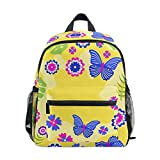 Butterfly Children's Schoolbag Girls Backpack Boys Book Bag for 3-8 Years Old Kids Double Shoulder Yellow