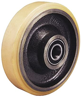 "Revvo 200 PT2H 8"" Diameter X 1-3/4"" Width Polyurethane on Cast Iron Wheel with Precision Ball, 2420 lb. Capacity, 20mm Bore Diameter"