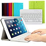 CoastaCloud iPad mini 1/2/3 Keyboard Case PU Leather Folio Stand Cover with Detachable Wireless Bluetooth Keyboard for iPad mini3/iPad mini 2/iPad mini 1(Green)