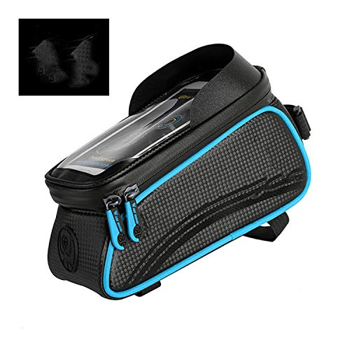 Bicycle Bag Cycling Top Front Tube Frame Bag Waterproof 6.0 inches Phone Case Storage Touch Screen MTB Road Bike Bag,Black Blue