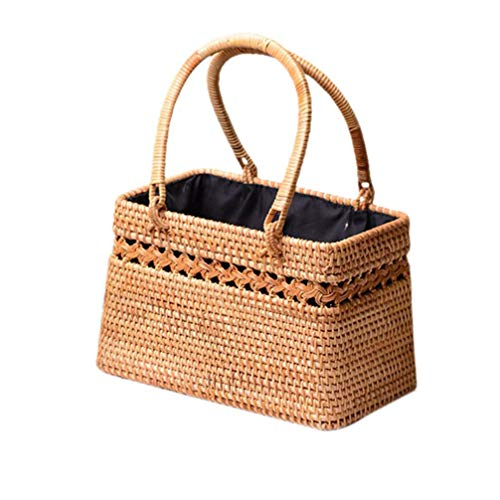 Style Handmade Straw Woven Cutout Bag Natural Exotic Rattan Storage Basket Fashionable Beach Bags For Women