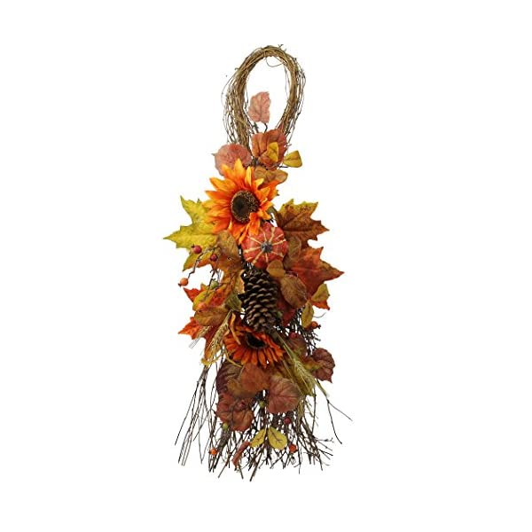 Admired By Nature GFW6008-NATURAL Artificial Sunflowers/Pumpkins/Pine Cone/Maple Leaves/Wheat Festive Harvest Display Teardrop, 36″, Autumn