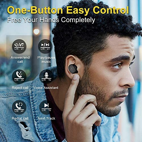 Ankbit True Wireless Bluetooth Earbuds, Upgraded Bluetooth 5.0 Sport Sports TWS Stereo Headphones in Ear Build in Mic IPX6 Waterproof for Workout, Running 51gGiJAcIaL