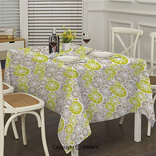 Waterproof Tablecloth,Pale Retro Floral Designs in Circles Asian Japanese Inspired Blossom(52