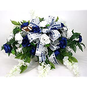 Dallas Cowboy's Cemetery Graveside Saddle Arrangement w Silver and Blue Roses with White Wisteria 8