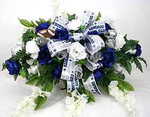 Dallas Cowboy's Cemetery Graveside Saddle Arrangement w Silver and Blue Roses with White Wisteria