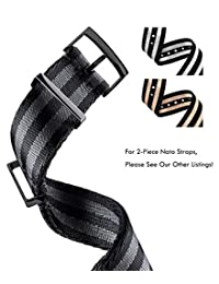 Truffol 20mm 1-Piece NATO Strap Nylon Watch Band with PVD Steel Metal Buckle Loop (Black & Titanium Grey)