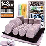 Furniture Pads 148pcs Self Adhesive Felt Furniture Pads Heavy Duty Anti Scratch Furniture Felt Pads Chair Leg Floor Protectors for Chair Legs Feet Protect Hardwood Laminate Tile Floor, Assorted Size