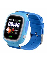 1.44 GSM GPS Tracker Smart Watch Location Finder Locator Device Tracker Satellite Safe Anti-Lost Android & IOS SOS Monitor Kids Children (Blue)