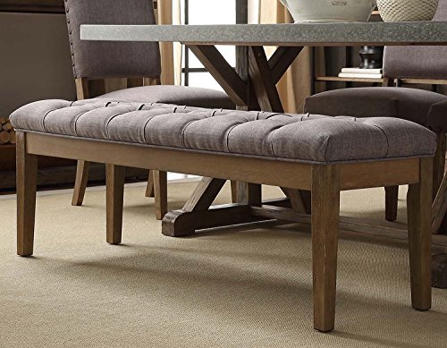 Mid Century Button Tufted Gray Bench with Light Brown Wood Legs For Sale