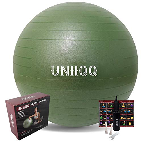UNIIQQ Exercise Ball, Stability Ball, Yoga Ball, Birthing Ball, Ball Chair - With Hand Pump - Heavy Duty, Anti-Burst, Tested at 2000lbs - Eco Friendly, Non-Slip Exterior (Green, 75cm)