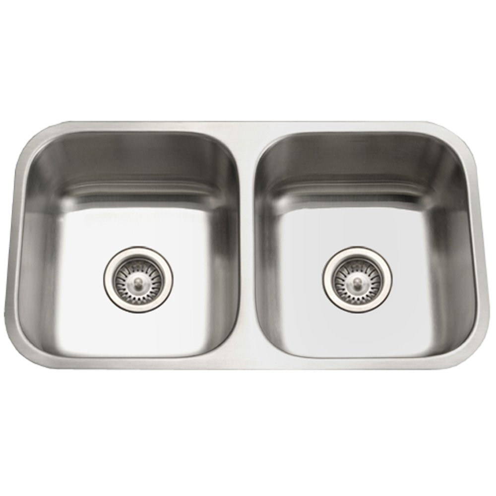 Houzer STD 2100 1 Eston Series Undermount Stainless Steel 50/50 Double Bowl Kitchen  Sink, 18 Gauge     Amazon.com
