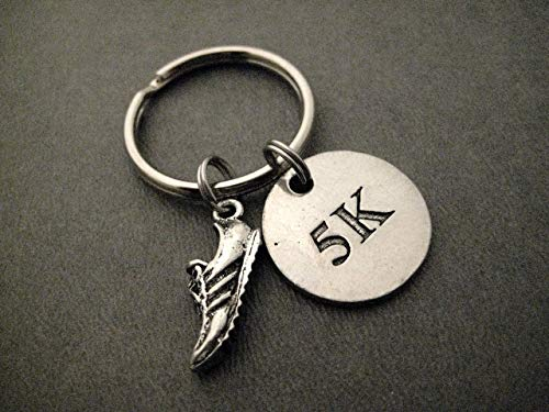 - RUN 5K Pewter Pendant Key Chain - Pewter Running Shoe Charm and Round Pewter 5K Pendant on Round Stainless Steel Key Ring