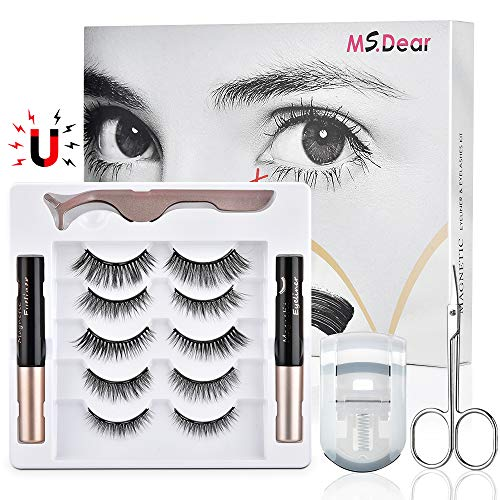 Magnetic Eyelashes with Eyeliner, Upgraded 3D Reusable Magnetic Eyelashes Kit Silk False Lashes Natural Look Come with…