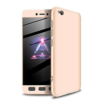 Funda Xiaomi Redmi GO Oro,Case Redmi GO Ultra Fina Carcasa 360°Complete Package Protectora Caja Anti-Dactilares PC Hard Cover Bumper Skin cojín ...