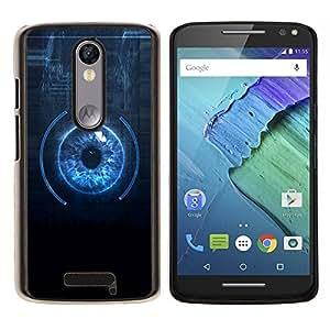 LECELL--Funda protectora / Cubierta / Piel For Motorola MOTO X3 3rd -- Sci Fi Blue Eye Close Up --