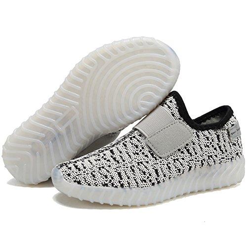 EQUICK Kinder LED Leuchten Schuhe Breathable stricken Kinder Casual Laufschuhe (kleines Kind / großes Kind) Dk.grey