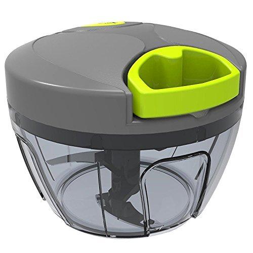 Home Puff Vegetable Cutter Chopper, Mincer, Food Processor, Blender, Manual Hand Powered 3 Stainless Steel Blade (12.5 Oz)
